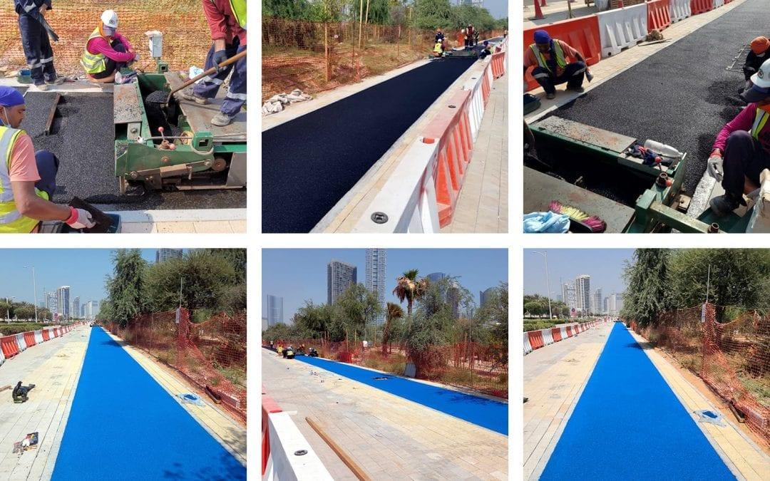 New running track in Abu Dhabi made from Rosehill TPV softfall rubber granules